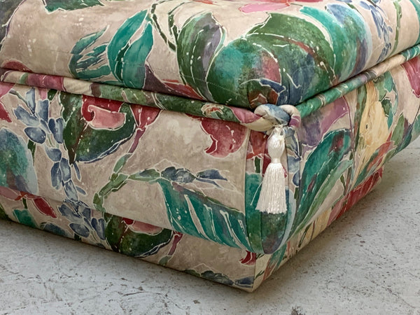 Palm Beach Style Pair of Floral Ottomans close up