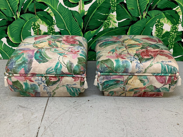 Palm Beach Style Pair of Floral Ottomans front view