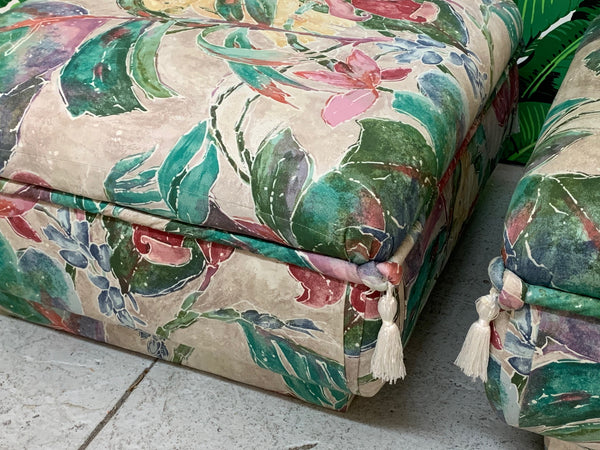 Palm Beach Style Pair of Floral Ottomans side view