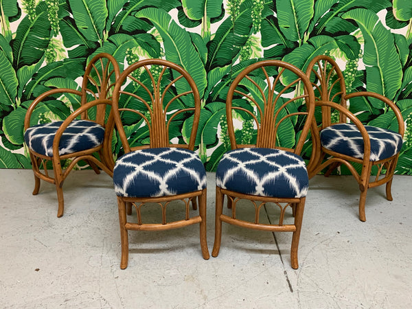 Vintage Rattan Dining Chairs, Set of 4 front view
