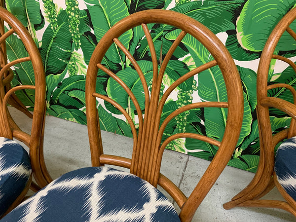 Vintage Rattan Dining Chairs, Set of 4 close up