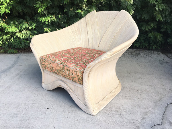 Gabriella Crespi Style Rattan Club Chair full view