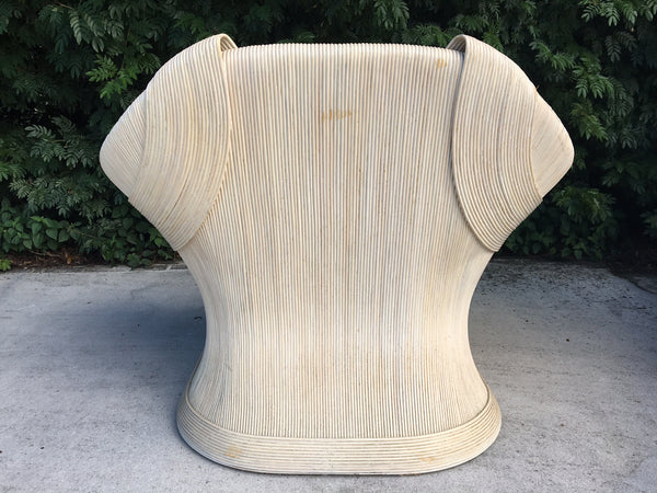 Gabriella Crespi Style Rattan Club Chair rear view