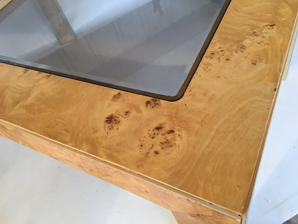 Burlwood and Brass Dining Table by Thomasville close up view