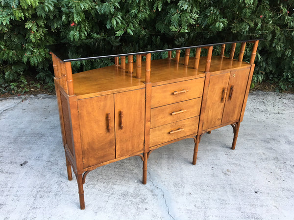 Bamboo and Glass Credenza Server front view
