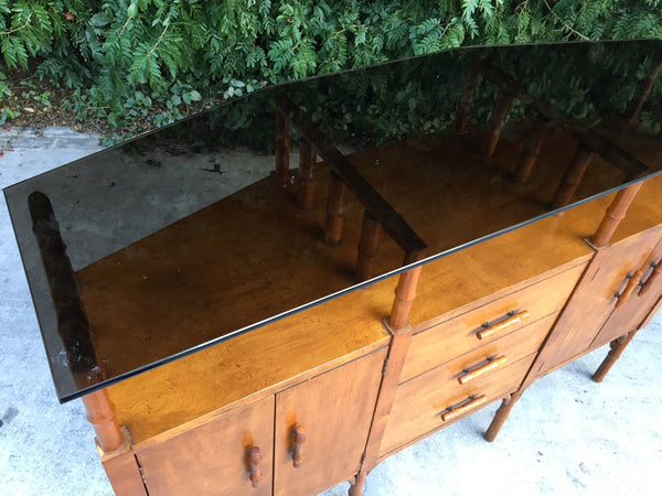Bamboo and Glass Credenza Server top view
