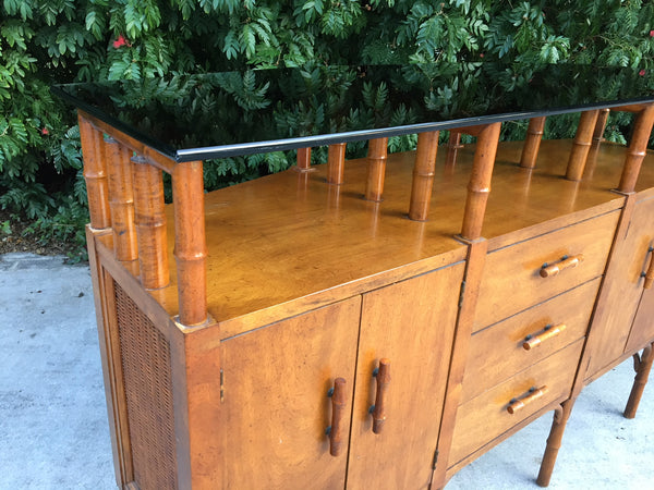 Bamboo and Glass Credenza Server