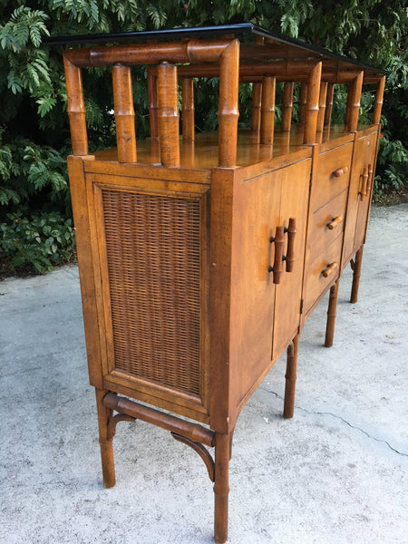 Bamboo and Glass Credenza Server side view