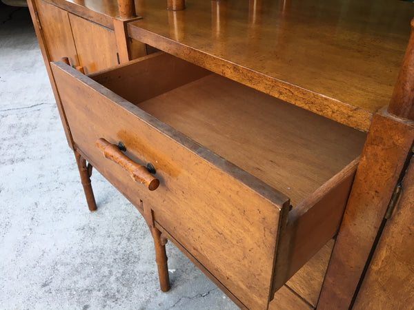 Bamboo and Glass Credenza Server drawers