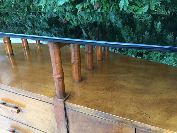 Bamboo and Glass Credenza Server shelf