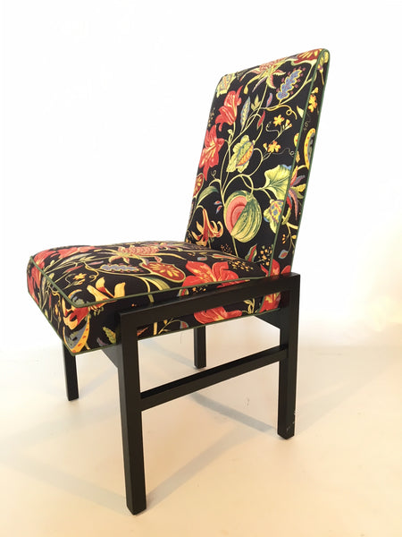 Set of Six Floral Dining Chairs by Directional