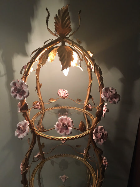 Italian Florentine Tole Gold Gilt Etagere With Porcelain Roses lighted