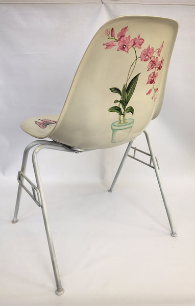 Hand Painted Herman Miller Eames Molded Fiberglass Side Chair rear view