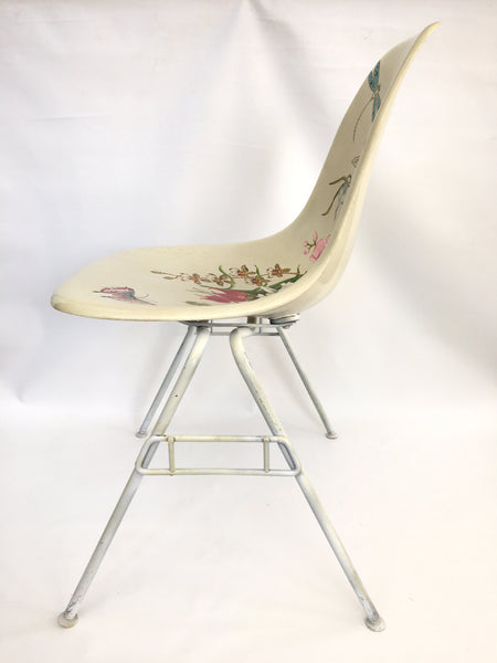 Hand Painted Herman Miller Eames Molded Fiberglass Side Chair side view