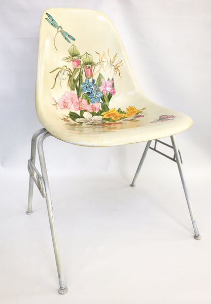 Hand Painted Herman Miller Eames Molded Fiberglass Side Chair front view