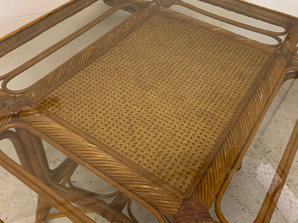 Twisted Rattan and Cane Dining Table close up