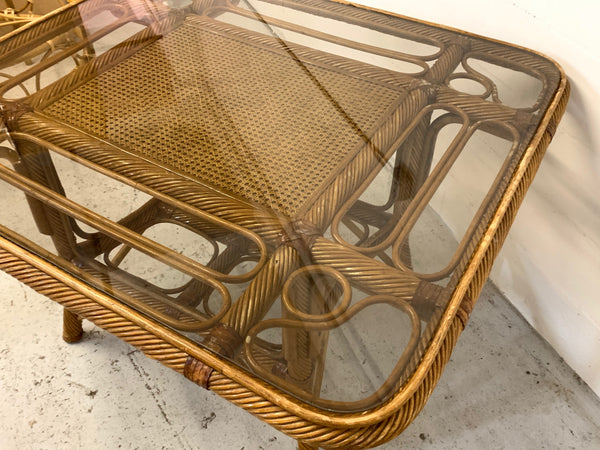 Twisted Rattan and Cane Dining Table
