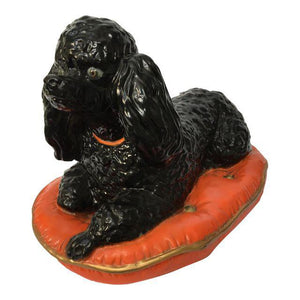 Large Ceramic Poodle on Pillow Figurine