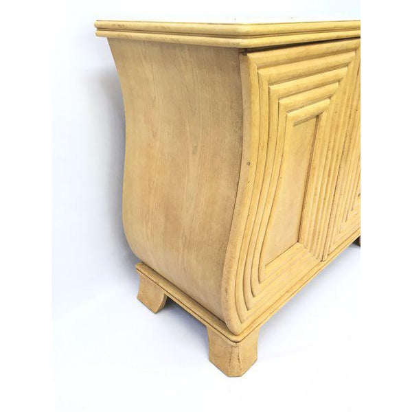 Art Deco Hollywood Regency Curved Wood Cabinet side view