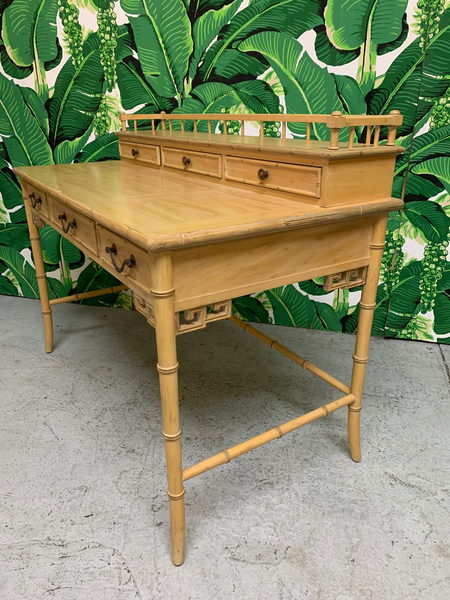 Faux Bamboo Writing Desk by Raymond Sobota for Century Furniture side view