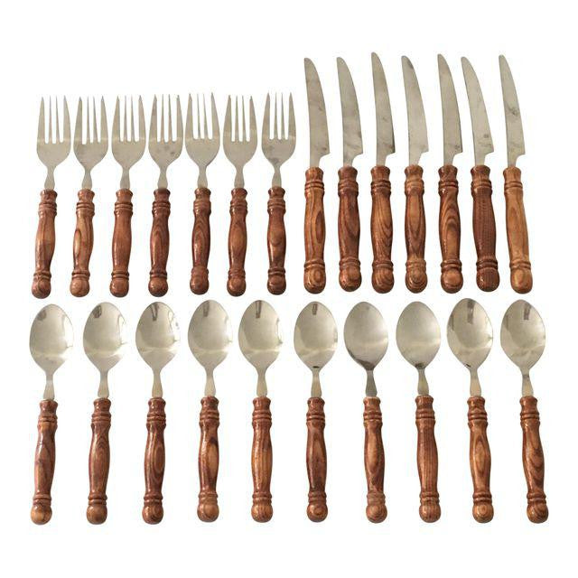 Set of Vintage Faux Bamboo Flatware- 24 Pieces