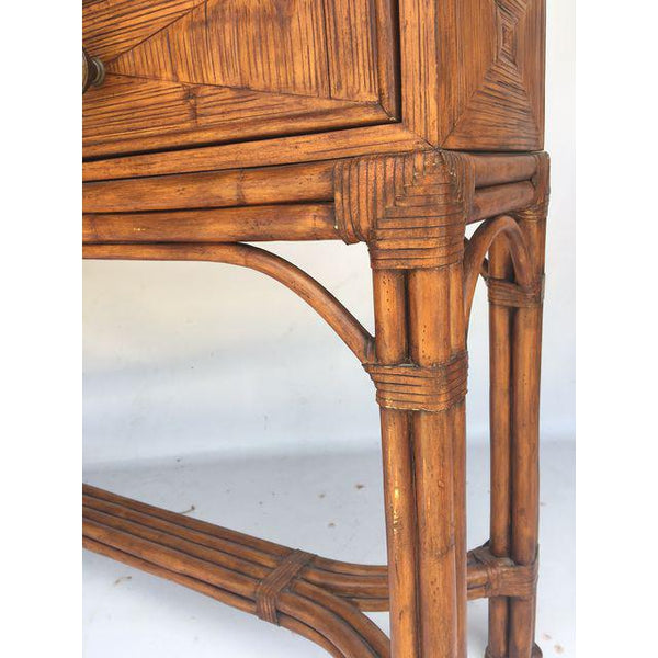 Ethan Allen Burnt Bamboo Rattan 3 Drawer Console Table