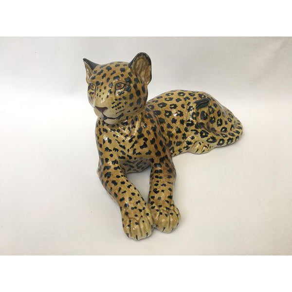 Hand painted Italian Art Deco Glazed Ceramic Leopard Cheetah Figurine