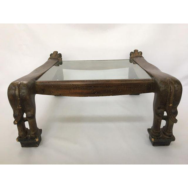 Egyptian Revival Sculptural Carved Lion Coffee Table