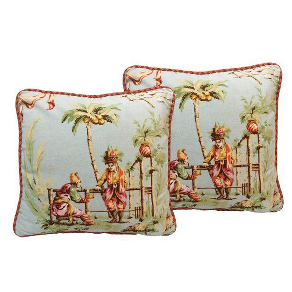 Pair of Asian Chinoiserie Throw Pillows