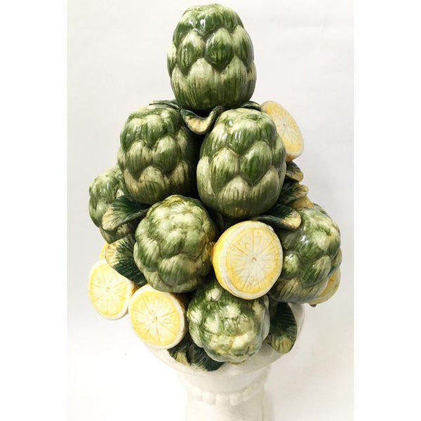 Ceramic Sculptural Avocado & Lemon Topiary Fruit Basket