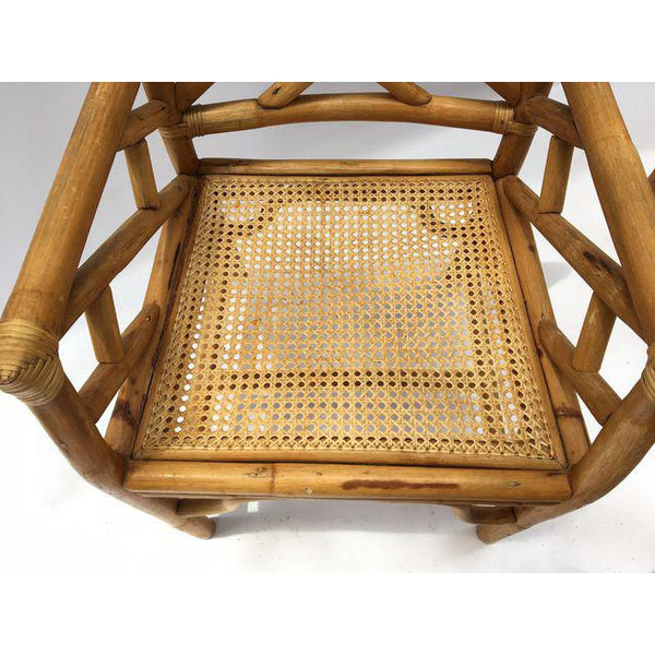 Chinese Chippendale McGuire Style Rattan Bamboo Arm Dining Chairs seat