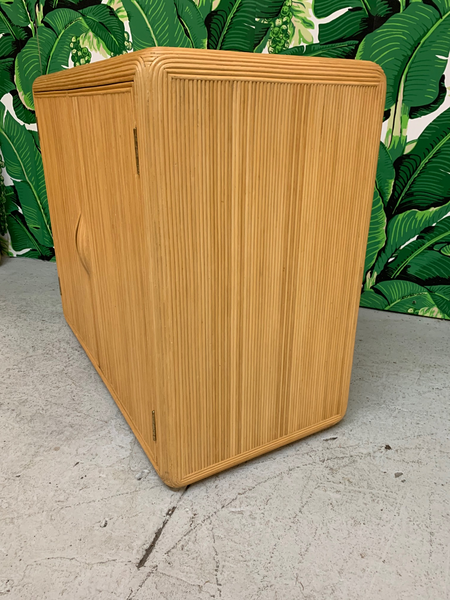 Split Reed Rattan Cabinet in the Manner of Gabriella Crespi side view