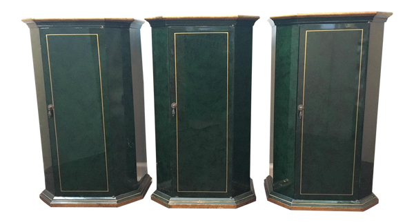 Set of 3 Art Deco Faux-Malachite Cabinets
