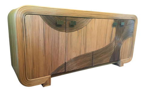 Artistic Split Reed Wrapped Rattan Buffet in the Manner of Gabriella Crespi