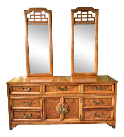 Asian Chinoiserie Burl Dresser Mandarin Collection by Henry Link