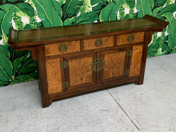 Asian Chinoiserie Burl Wood Coffer Sideboard