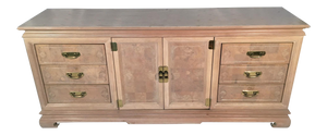 Asian Chinoiserie Light Burl Wood 9-Drawer Dresser