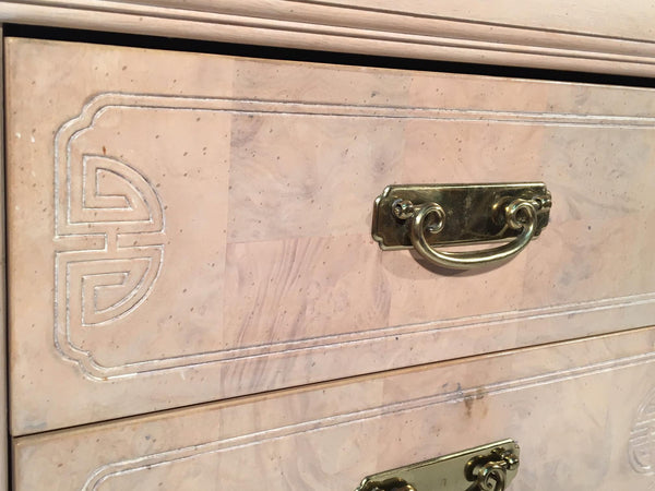 Asian Chinoiserie Light Burl Wood 9-Drawer Dresser close up