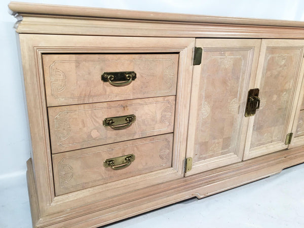 Asian Chinoiserie Light Burl Wood 9-Drawer Dresser front view