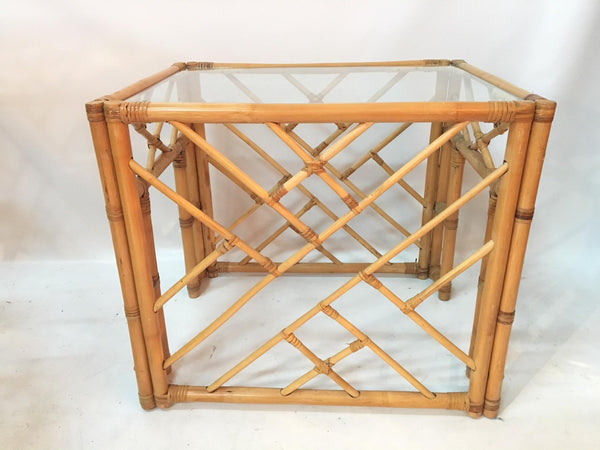 Asian Chinoiserie Style Bamboo Side Tables