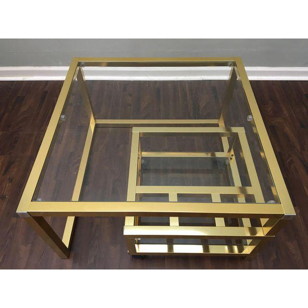 Cubist Brass Swivel Coffee Table with Wine Rack After Milo Baughman top view