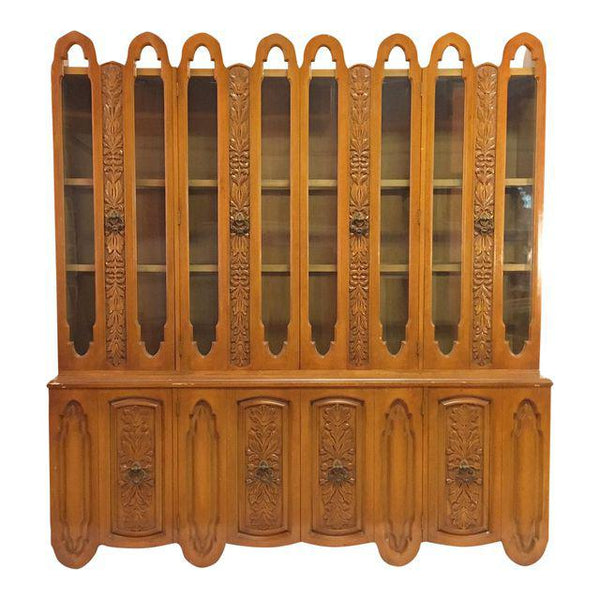 Art Deco Mid Century Wood Carved Display China Cabinet