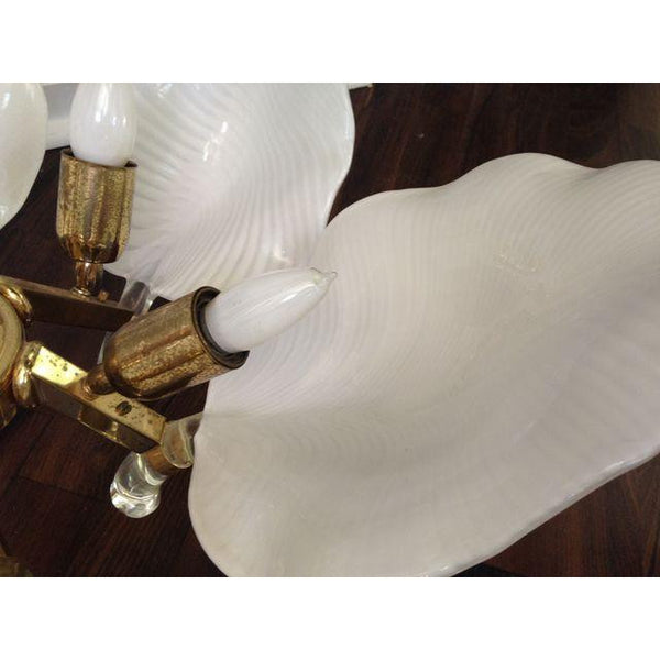 Murano White Glass Leaf Chandelier