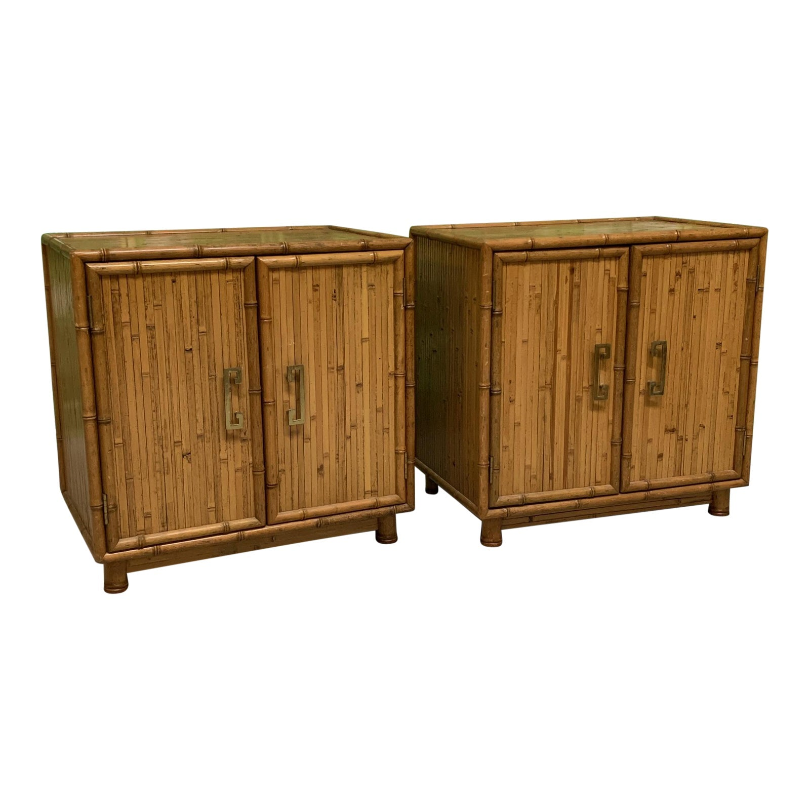 Bamboo and Rattan Chinoiserie Nightstands