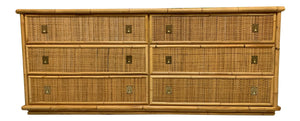 Bamboo and Woven Rattan Double Dresser front view