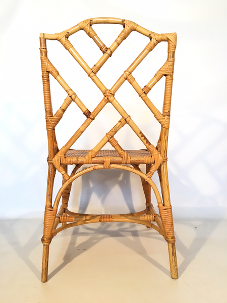 Bamboo Chinese Chippendale Cane Seat Dining Chairs - Set of 10