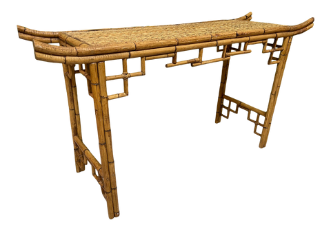 Bamboo Chinoiserie Pagoda Console Table