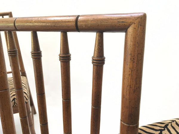 Bamboo Tiger Print Dining Chairs close up