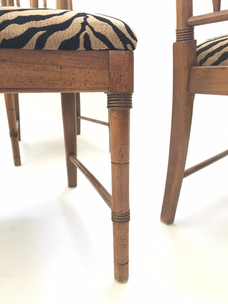 Bamboo Tiger Print Dining Chairs legs