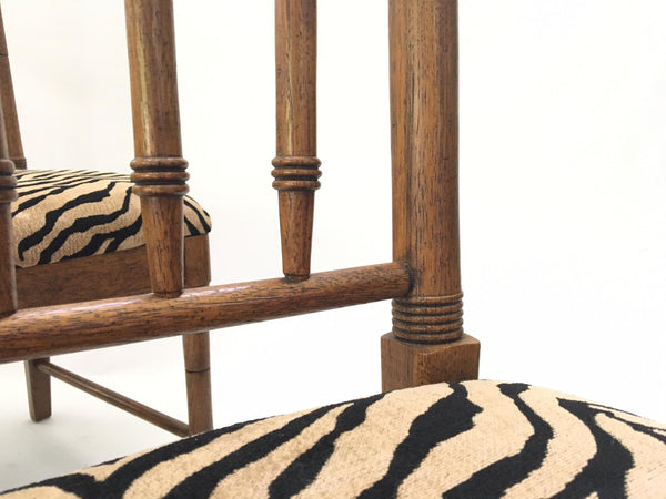 Bamboo Tiger Print Dining Chairs cushion